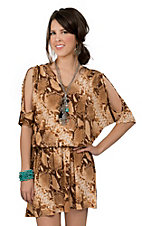 Cowgirl Justice® Women's Hidalgo Brown Snake Print Cold Shoulder 3/4 Sleeve Dress