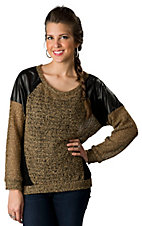 Vintage Havana® Women's Tan with Black Back and Faux Leather Shoulders Long Sleeves Knit Fashion Top