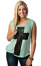 Vintage Havana® Women's Mint with Black and Gold Cross Sleeveless Sweater Knit Fashion Tank Top
