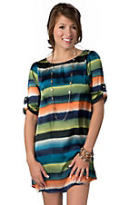 Hot & Delicious® Women's Navy and Green Watercolor Stripes Silky 3/4 Sleeves Dress