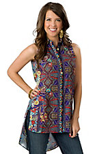 Hot & Delicious® Women's Blue with Multi Floral Paisley Print Sleeveless Hi-Lo Button Down Tunic Fashion Top