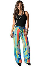 Karlie® Women's Multi-Colored Geo Aztec Chiffon Palazzo Pants