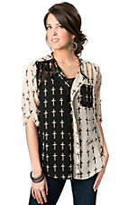 Karlie® Women's Cream and Black Cross Print Color Block Chiffon 3/4 Sleeve Fashion Top