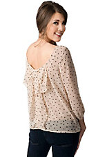 Karlie® Women's Nude with Black Polka Dots Bow Back 3/4 Sleeve Fashion Top