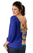 Karlie® Women's Solid Blue with Neon Chevron Bow Back 3/4 Sleeve Fashion Top