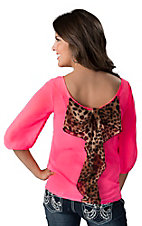 Karlie® Women's Neon Pink with Leopard Bow Back 3/4 Sleeve Fashion Top