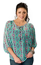 Karlie® Women's Aqua with Multicolor Aztec Print 3/4 Sleeve Fashion Top