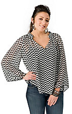 Karlie® Women's Black and White Chevron Chiffon Long Sleeve Fashion Top