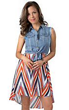 Hot & Delicious® Women's Denim and Orange Chevron Chiffon Sleeveless Dress