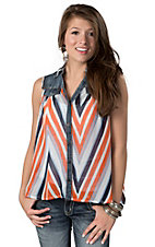 Hot & Delicious® Women's Denim and Orange Chevron Chiffon Sleeveless Fashion Top