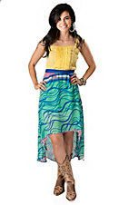 Flying Tomato Green and Blue Print with Yellow Top Chiffon Sleeveless Hi-Lo Maxi Dress