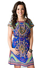 Flying Tomato® Women's Blue and Orange Multi Empire Waist Short Cap Sleeve Dress