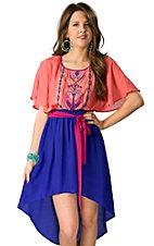Flying Tomato® Women's Coral and Blue Hi-Lo with Short Flutter Sleeves Dress