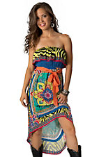 Flying Tomato® Women's Lime and Blue Ruffle Top Hi-Lo Strapless Dress