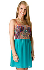 Flying Tomato® Women's Teal Bottom with Orange Multi Guatemalan Print Top Sleeveless Dress
