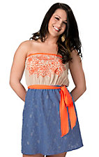 Flying Tomato® Women's Tan and Blue with Orange Lace Sleeveless Dress