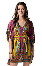Flying Tomato® Women's Pink and Yellow Multi Print with Tie Short Sleeve Poncho Dress
