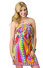 Flying Tomato® Women's Lime and Berry Multi Print Empire Waist Sleeveless Dress