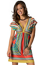 Flying Tomato® Women's Yellow, Blue & Orange V-Neck Short Sleeve Dress