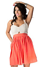 Flying Tomato® Women's Cream and Coral Eyelet with Keyhole Sleeveless Halter Dress