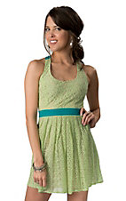 Flying Tomato® Women's Green Lace with Turquoise Trim Sleeveless Dress