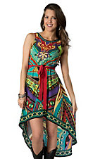 Flying Tomato® Women's Red & Teal Multi Print Hi-Lo Sleeveless Dress