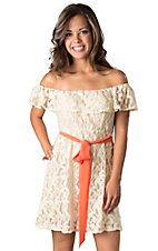 Flying Tomato® Women's Cream Lace Ruffle with Orange Tie Off the Shoulder Dress