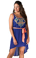 Flying Tomato® Women's Blue with Orange and Light Blue Embroidery Hi-Lo Sleeveless Dress