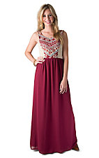 Flying Tomato Women's Cream Lace with Burgundy Chiffon Skirt Sleeveless Maxi Dress