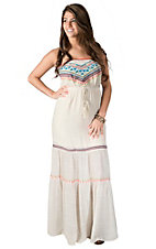 Flying Tomato Women's Cream with Coral and Turquoise Embroidery Strapless Maxi Dress