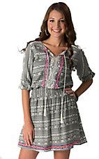 Flying Tomato Women's Black & Cream Print with Crochet 3/4 Sleeve Dress