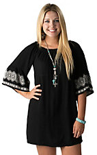 Flying Tomato Women's Black with White Embroidery 3/4 Sleeve Dress