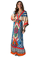 Flying Tomato Women's Beige with Multicolor Print 3/4 Sleeve Kimono Maxi Dress