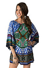 Flying Tomato Women's Blue Multi Print 3/4 Sleeve Dress