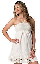 Flying Tomato® White Eyelet with Cream Dot Embroidery Strapless Dress