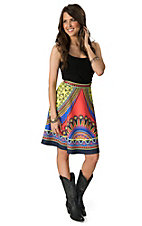 Flying Tomato Women's Yellow, Coral and Blue Print Skater Skirt