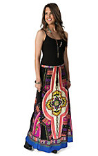 Flying Tomato Women's Black Multi Print Maxi Skirt