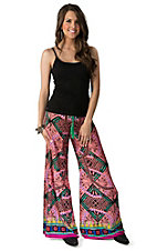 Flying Tomato Women's Coral and Black Print Wide Leg Palazzo Pants