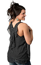 Karlie® Women's Black with White Polka Dots and Bow Racer Back Sleeveless Fashion Tank Top