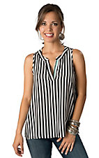 Karlie® Women's Black and White Striped with Turquoise V-Neck Sleeveless Fashion Top