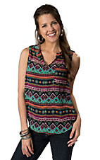 Karlie® Women's Navy with Turquoise and Pink Aztec Print Sleeveless Tab Shoulder Chiffon Fashion Top