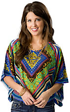 Flying Tomato® Women's Blue and Green Multi Print 3/4 Wide Sleeves Fashion Top