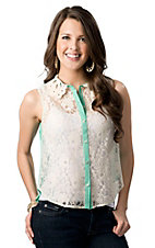 Flying Tomato® Women's Turquoise and White Lace Button Down Sleeveless Fashion Top