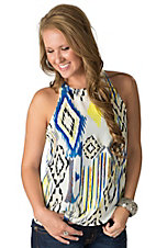 Karlie Women's White with Blue and Yellow Aztec Print Open Back Tank Fashion Top