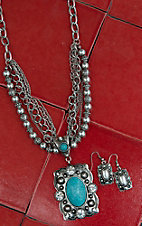 WYO-HORSE Multi-Strand Turquoise Oval Necklace & Earring Set J018