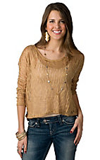 Lovemarks® Women's Gold Lurex Knit Hi-Lo 3/4 Sleeve Fashion Top
