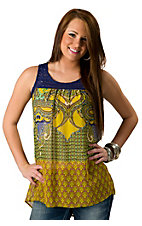 Lovemarks® Women's Yellow Multi Paisley with Blue Crochet Top Sleeveless Fashion Top