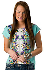 Lovemarks® Women's Mint Mirrored Floral Short Sleeve Fashion Top