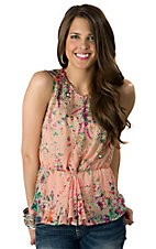 Lovemarks® Women's Pink with Floral Print Peplum Sheer Sleeveless Fashion Top