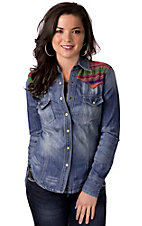 Lovemarks® Women's Denim w/ Multicolor Embroidered Yokes L/S Western Shirt